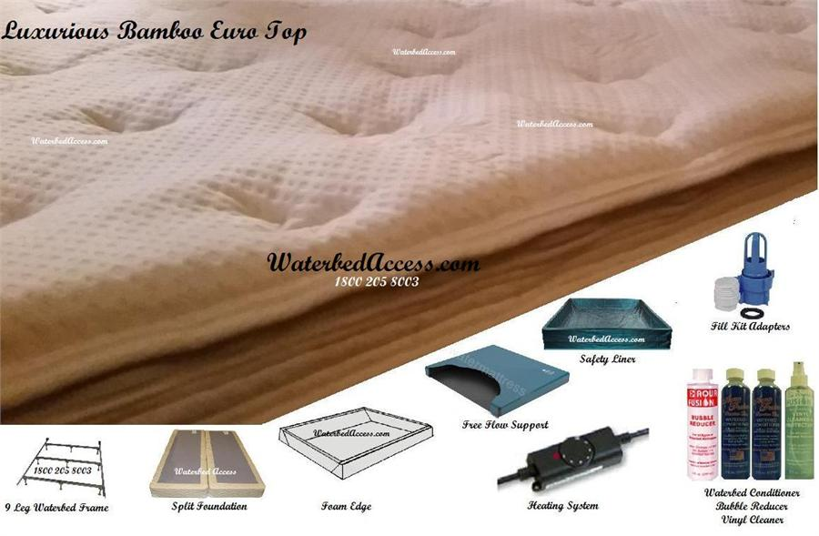 Full and Double size softside waterbed with luxurious bamboo Euro Top
