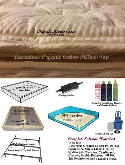 This complete softside waterbed includes everything that you ever wanted in a waterbed. Comes on regular full size and uses regular full or double size sheets. This is very Comfortable bed.