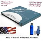 Waveless waterbed mattress with three layers of fiber which reduces movement to about 7 seconds which still gives you that traditional waterbed feel with out to much movement. This mattress package also includes a waterbed safety which is important.