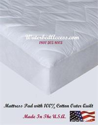 Cotton mattress pad for california king, queen, full and super single waterbeds and regular mattresses. We have it in stock and we ship it from Yonkers, New York